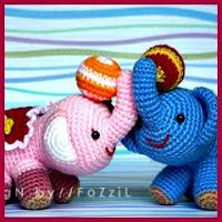 Elefantes de circo amigurumis