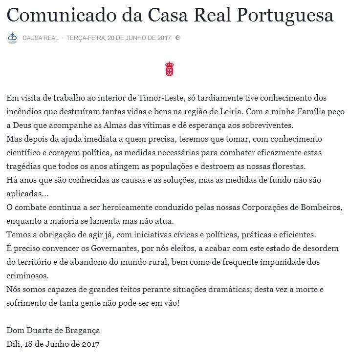 COMUNICADO DA CASA REAL PORTUGUESA