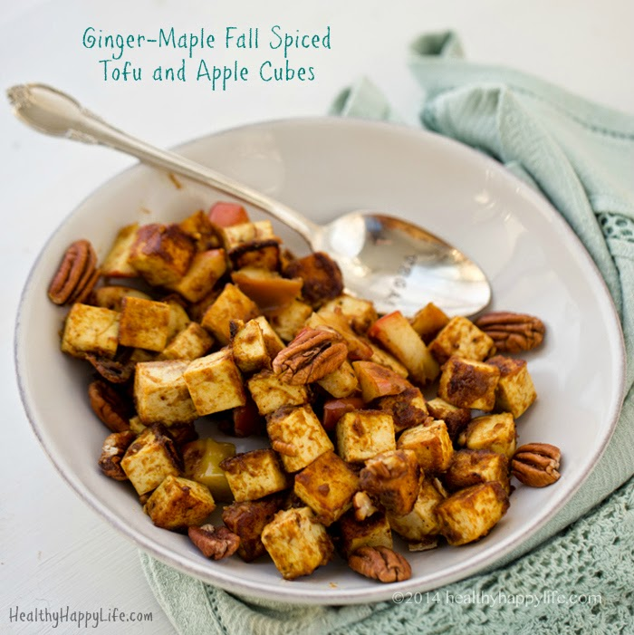Ginger-Maple Fall Spiced Tofu and Apple Cubes