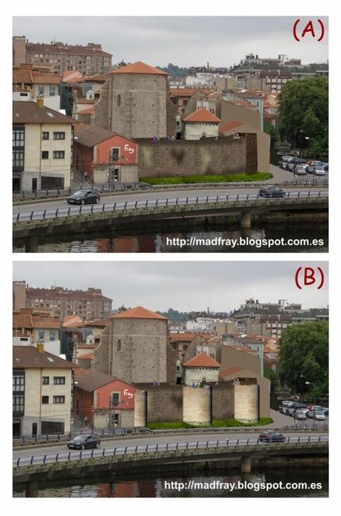 Muralla de Avilés, Asturias fofomontaje de la reconstrucción del tramo de muralla del muelle. Mad Fray