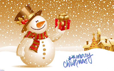 Merry Christmas Snowman Wallpaper