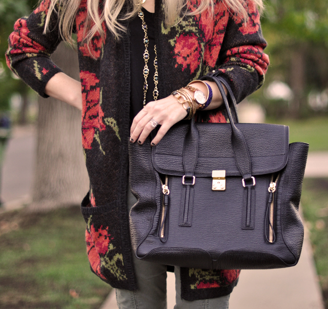 casual outfit, long rose print cardigan