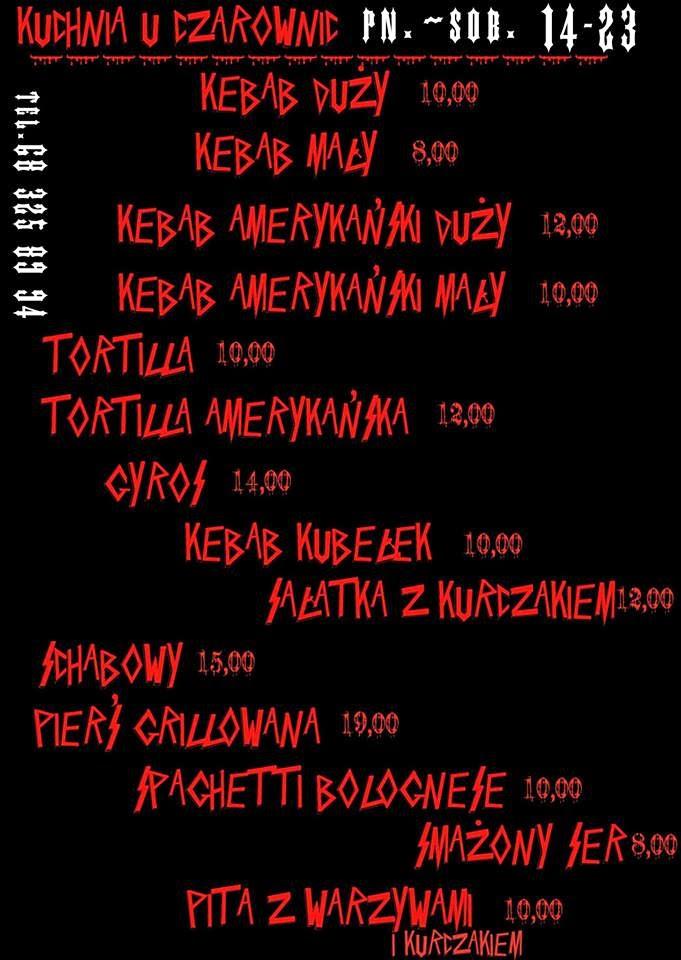 menu bar szybkiej obsługi Kuchnia u Czarownic Zielona Góra