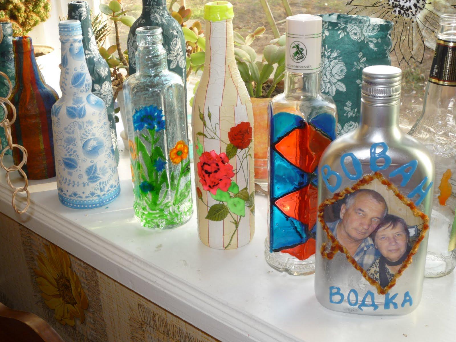 Декор бутылок салфетками своими руками
