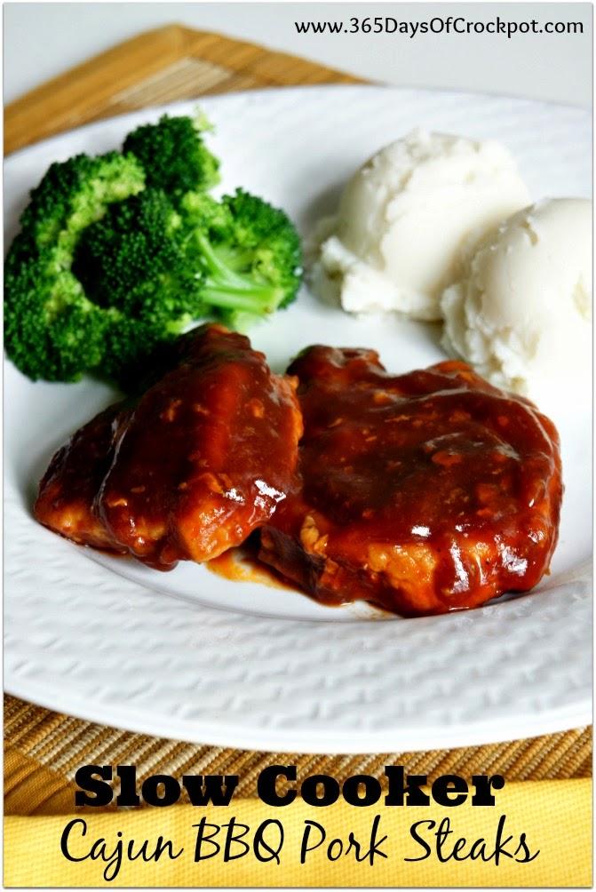 Recipe for Slow Cooker Cajun BBQ Pork Steaks #easydinner #crockpotrecipe #slowcooker