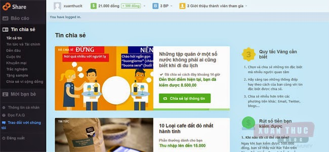 màn hình đăng nhập 8share kiếm tiền online
