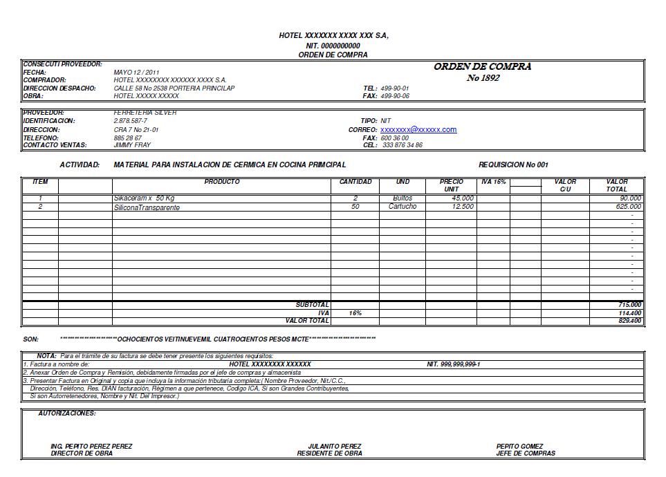 Recibo y despacho de mercancias - Solicitar nota simple registro propiedad gratis ...