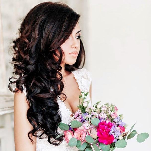 Прическа невесты на длинные распущенные волосы фото