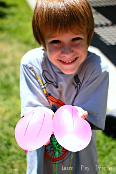 Water balloon equations - a gross motor math game