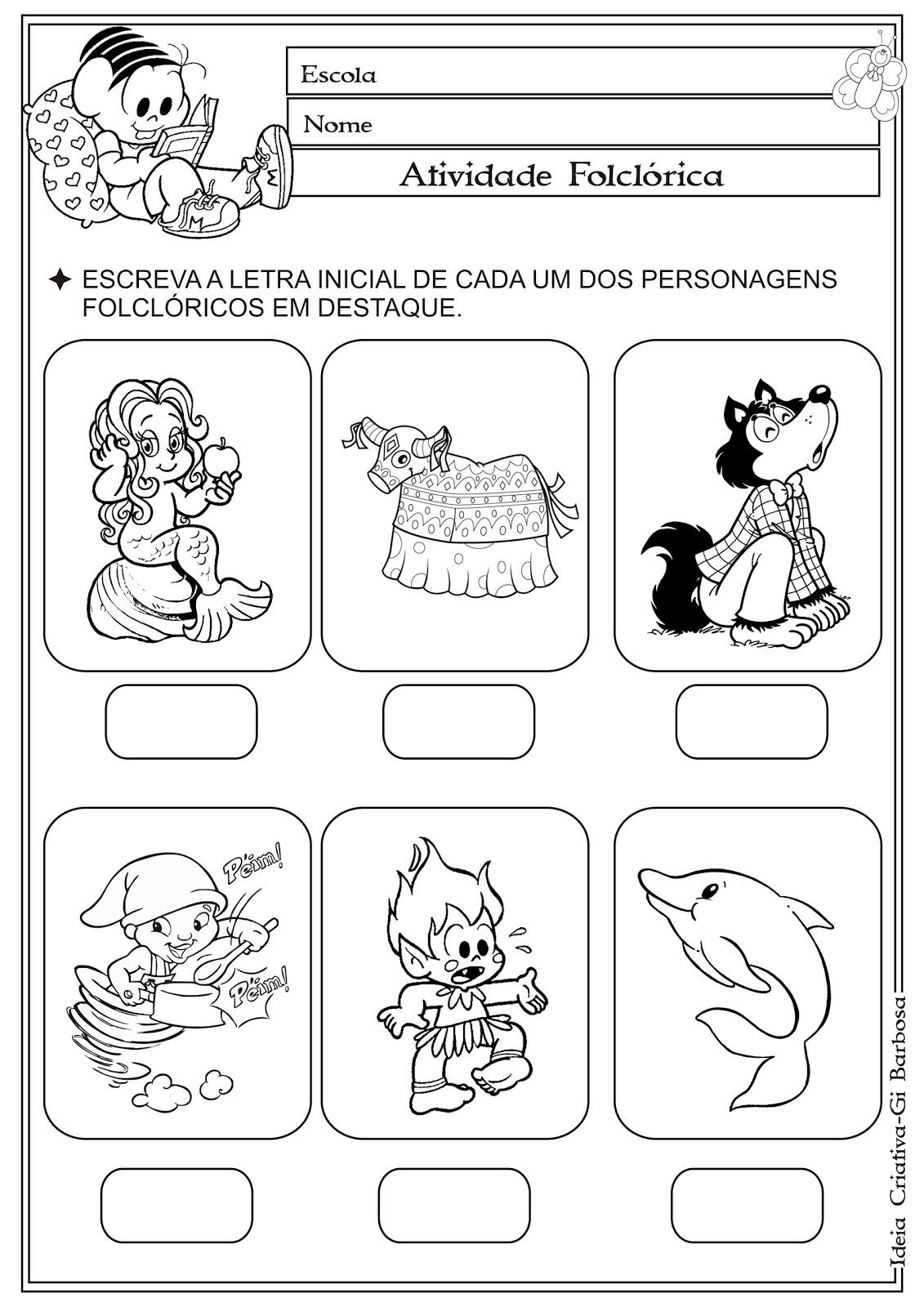 Populares Atividade Auto Ditado Letra Inicial Temática Folclore | Ideia  IC66