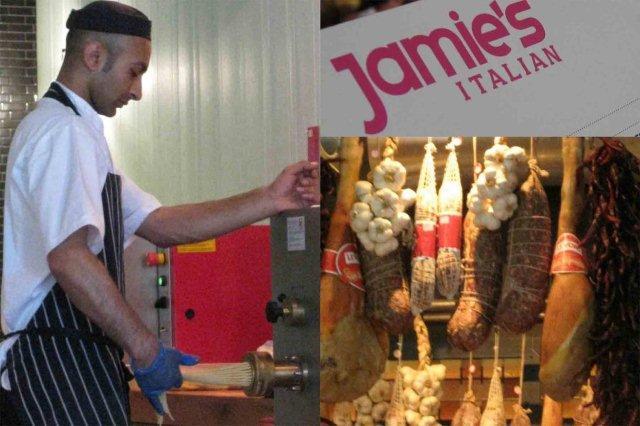 Viendo hacer pasta en directo – Carta Restaurante italiano Jamie's Italian en Glasgow – Embutido italiano