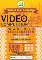 Sunnah Food Campaign Video Competition. Register before 30/5/16. Submit video before 30/6/16.