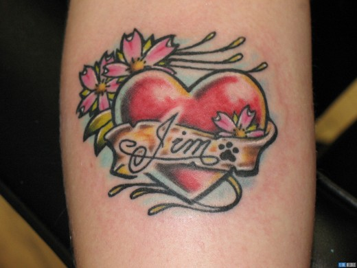 3D Heart Line Tattoo