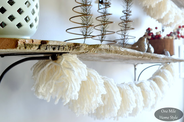 White Yarn Pom Pom Garland Strung on Rustic Wood Shelves - One Mile Home Style