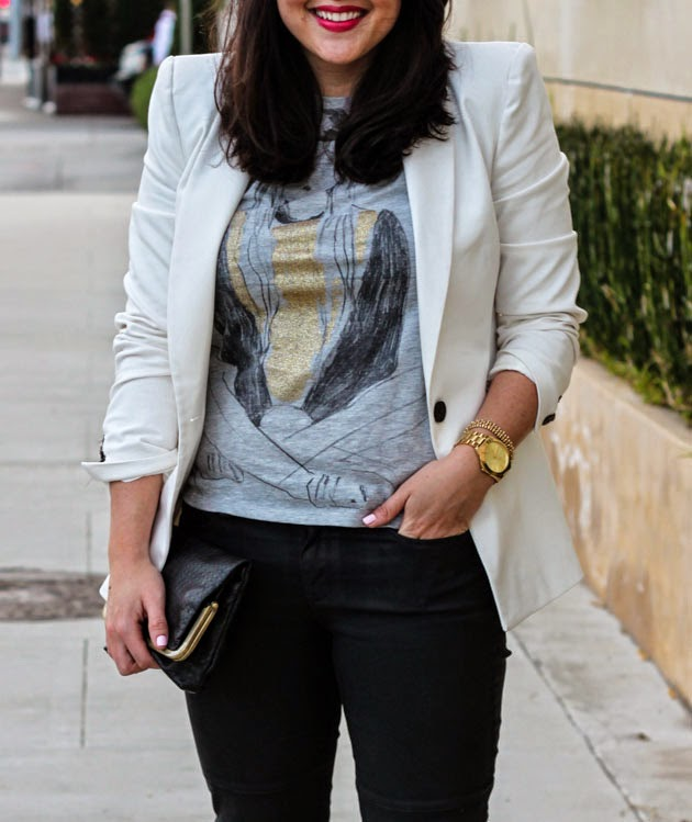 graphic tee zara white blazer bareminerals bright pink