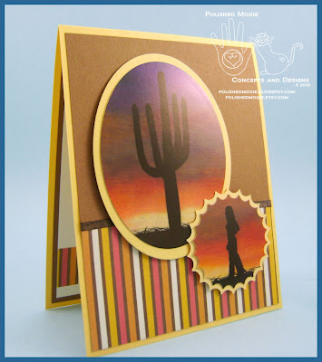 Front panel of my handmade Southwestern Sunset Card set at a right angle.