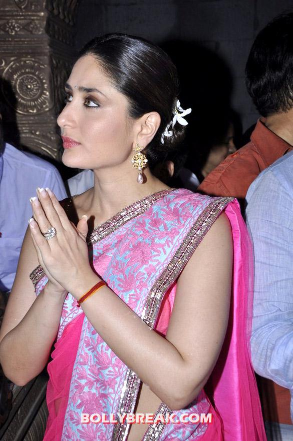 Kareena Kapoor - Kareena Kapoor in Pink Saree promote &#39;Heroine&#39; at Ganesha Pandal