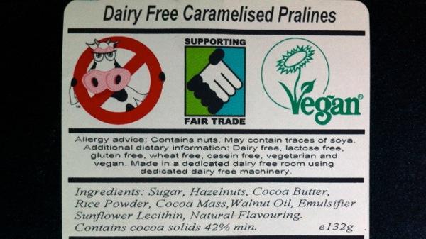 Moo Free Faux Milk Choc Pralines ingredients