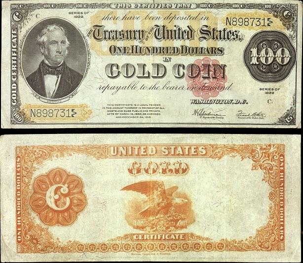 """""""Золотой сертификат"""" на 100 долларов, 1922 год"""