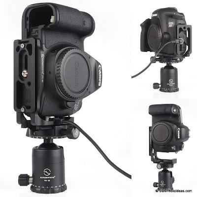 Sunwayfoto PCL-6D L Bracket on Canon EOS 6D w/ remote - landscape / portrait modes