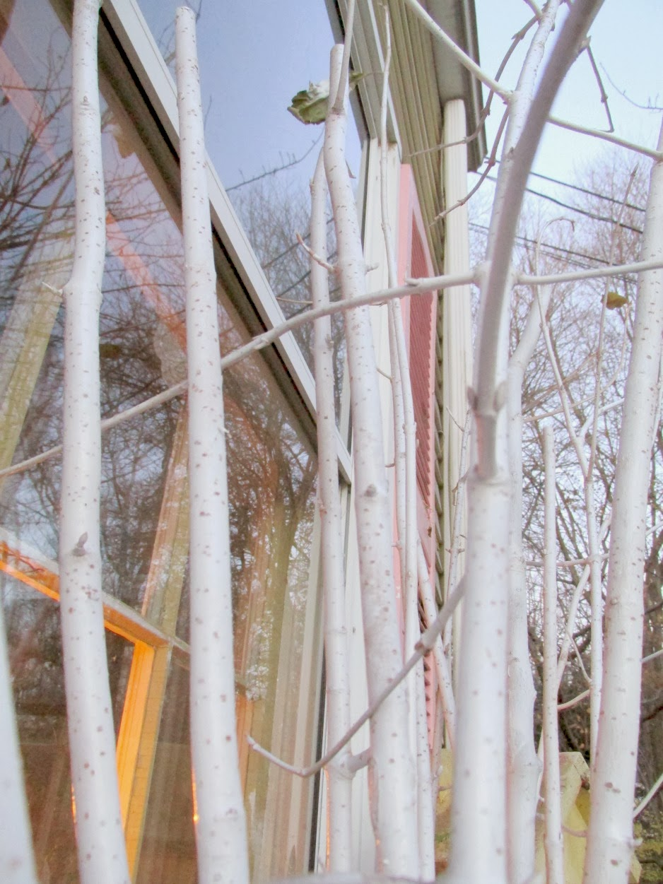 Faux White Birch Tree Sticks and Winter Window Boxes