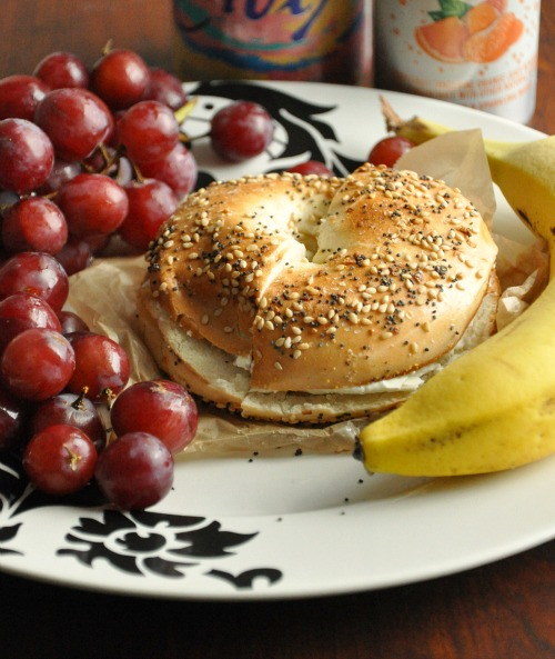 Eveything Bagel with Fresh Fruit
