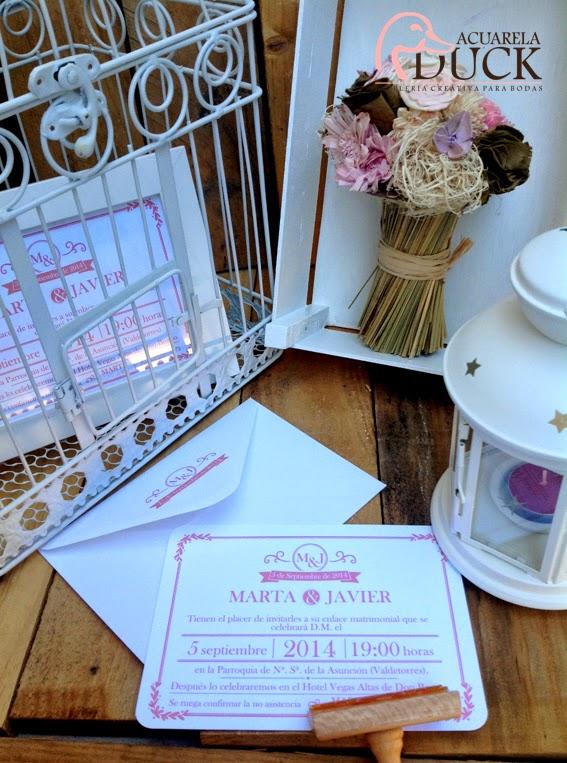 invitaciones boda blanco y rosa