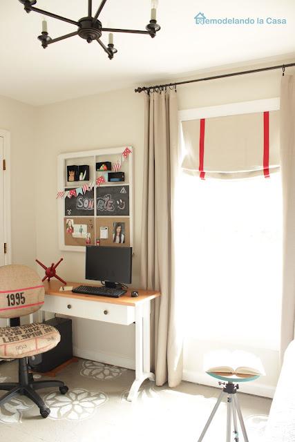 burlap office chair, old window memo board, computer on desk