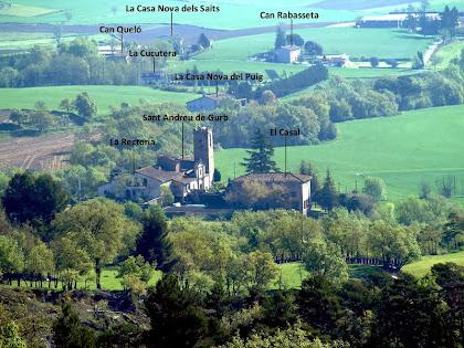 El nucli de Sant Andreu de Gurb vist des del Mirador dels Terressos Blancs