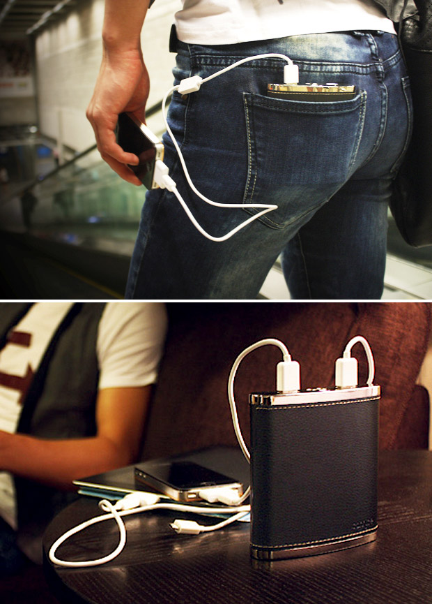"PowerFlask A rechargeable Lithium-Ion powered ""PowerFlask"" that delivers enough power to recharge 3 mobile devices at once"