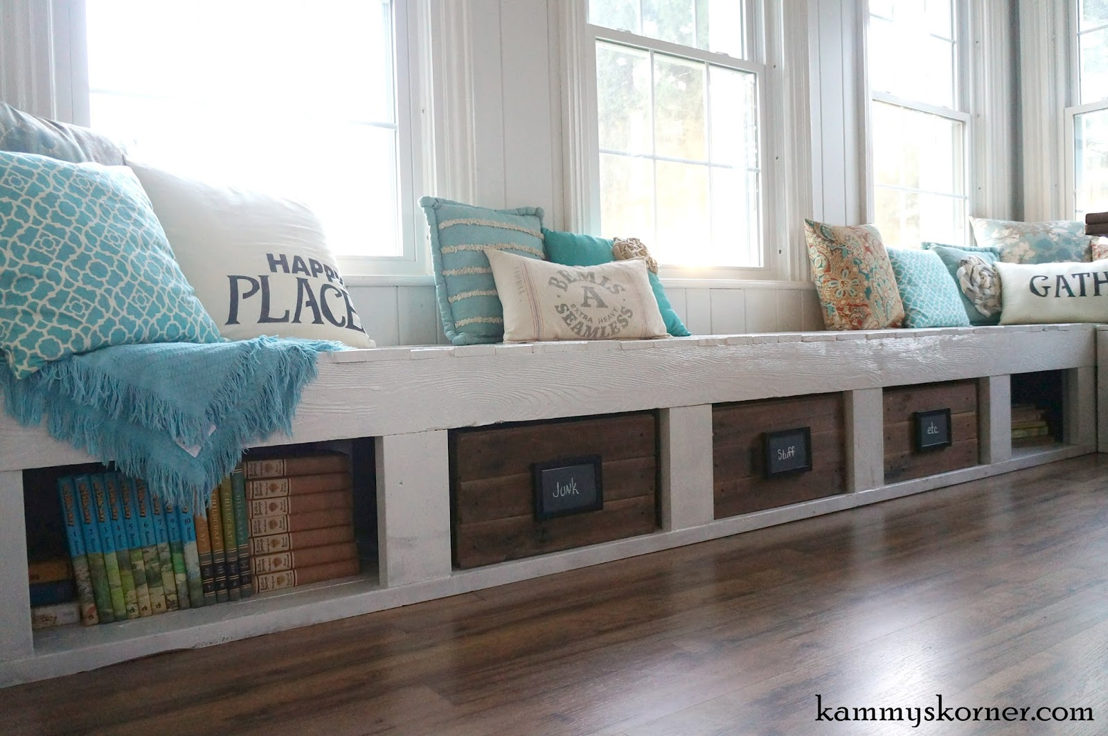 Kammy's Korner: One Of A Kind Window Seats From A Planked Wood Walkway