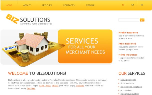 Free Yellow Orange Finance CSS Website Template