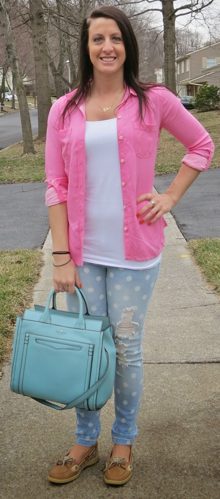 kate spade claremont bag, pink blouse, fashion, outfit, leopard sperrys, polka dot jeans