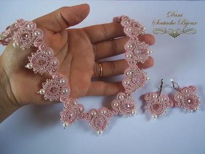 conjunto de colar e brincos em soutache e cristais rondelle