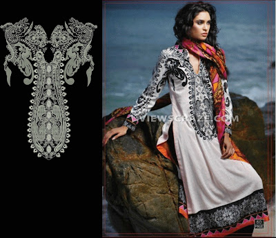 Classical Neck Embroidery Designs For Womew 2015