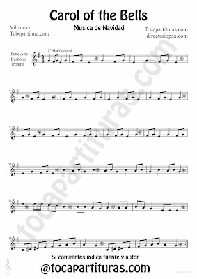 Tubescore Carols of the Bells sheet music for Alto and Baritone Saxophone traditional Christmas Carol Music Score