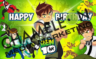 Ben10 Themed Birthday Banner and Invitations with child photo