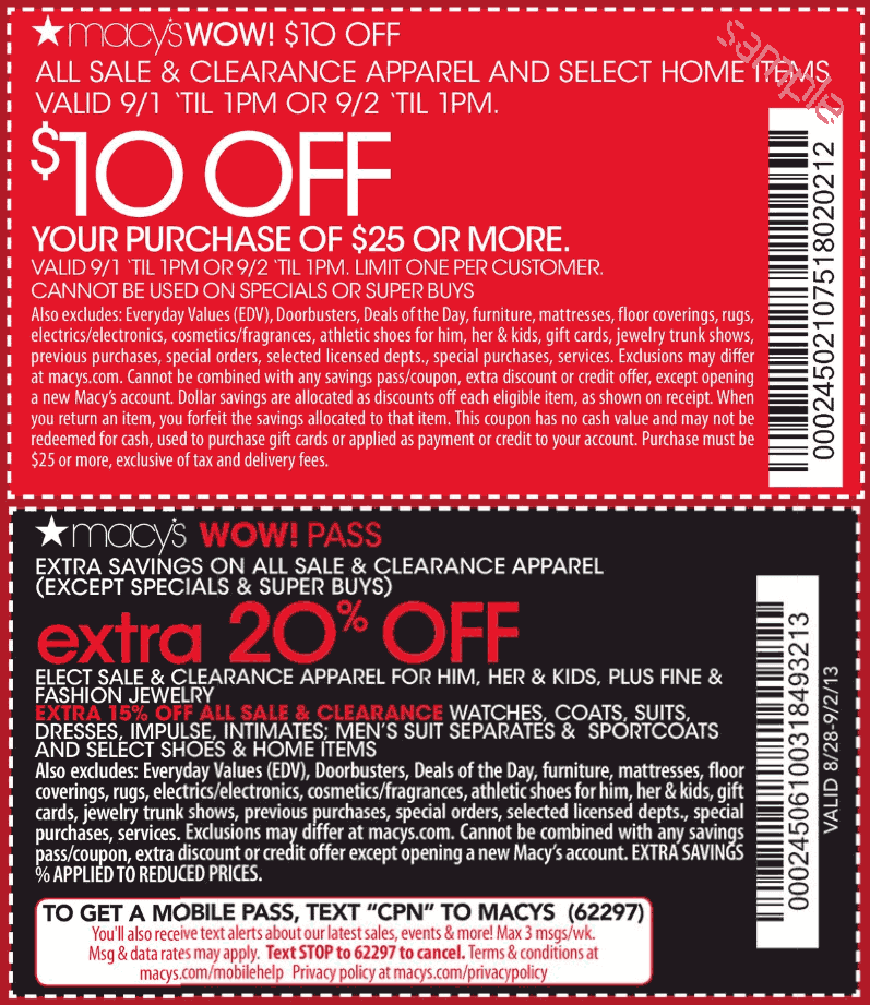 8. Whether you have a Macy's promo code or not, current promotions are listed beside the coupon entry form on the first checkout page. Enter a single Macy's coupon into the box to redeem savings on online orders. 9. Macy's printable coupons can also be saved on your mobile device when you want to redeem them in-store.