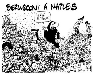 Berlusconi, rubbish, Naples, cartoon