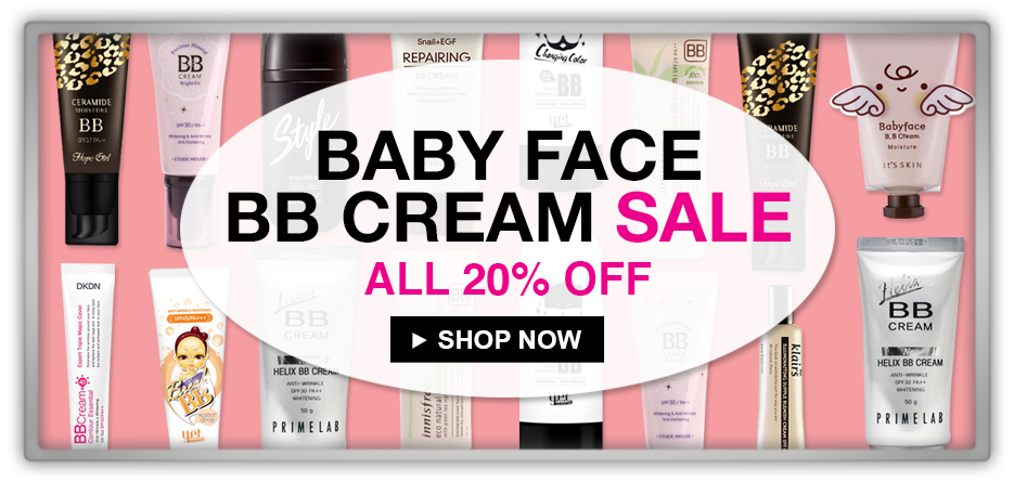 memebox 미미박스 Commercial sale makeup discount 24 hours 20% off missha ljh withc's pouch it's skin bb cc cream baby face