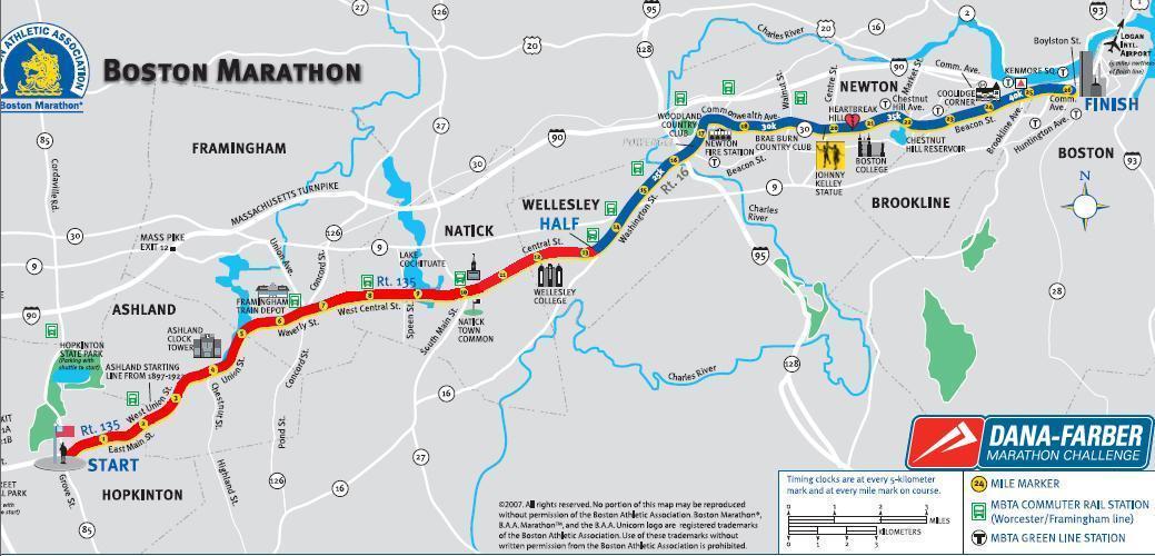 Boston Marathon Course Elevation Map.Boston Marathon Course Elevation