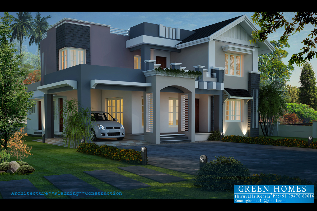 Green Homes Beautiful Night View Elevation Of 2720 Sq