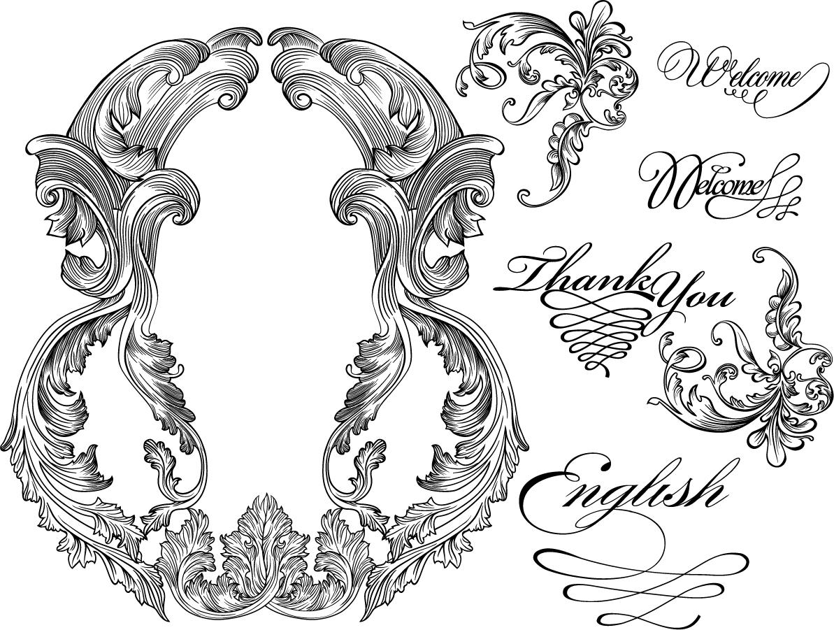 グローバルフォント 無料のタトゥーフォント : Vector Vintage Baroque Frames