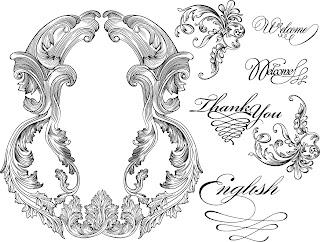 バロック様式のフレーム・ボーダー vintage baroque frames and decorative borders イラスト素材4