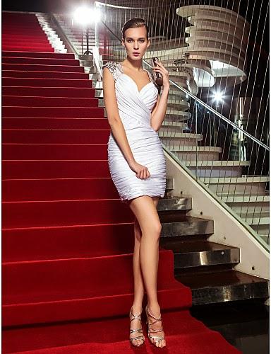 Vestido de Coctail de Vaina Blanco