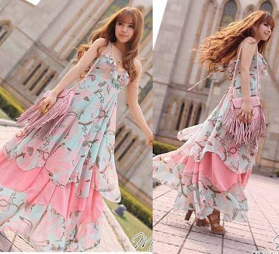 Chiffon Pink Fashion Font Graceful Maxi Dresses
