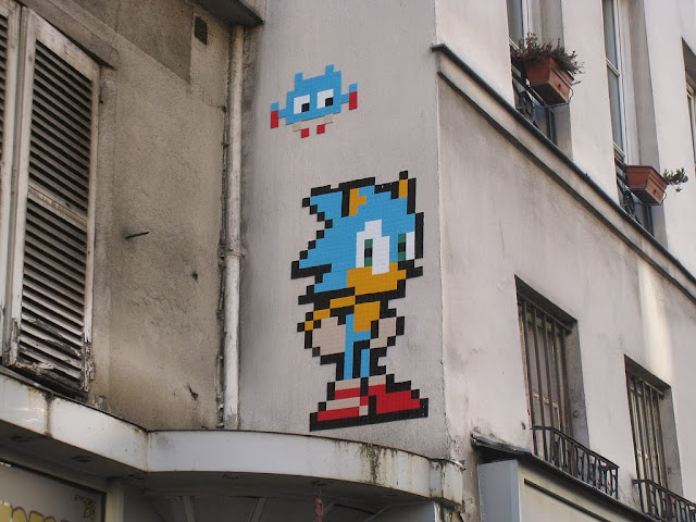New Wave Of Invasions by Space Invader in Paris, France with Peter Pan and Sonic The Hedgehog. 1