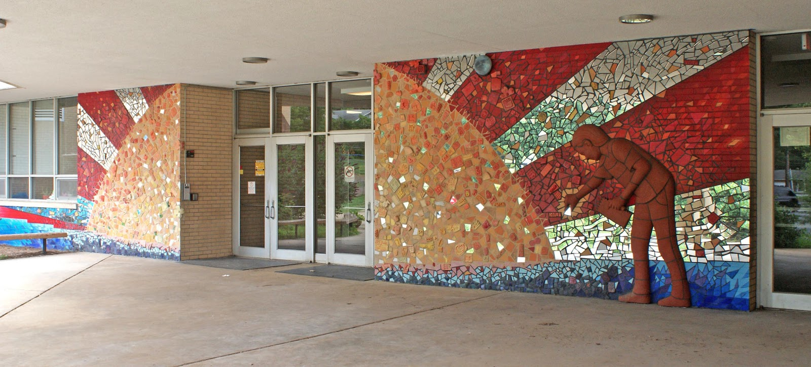 Alex irvine ceramics hall fletcher elementary school mural for Asheville mural project