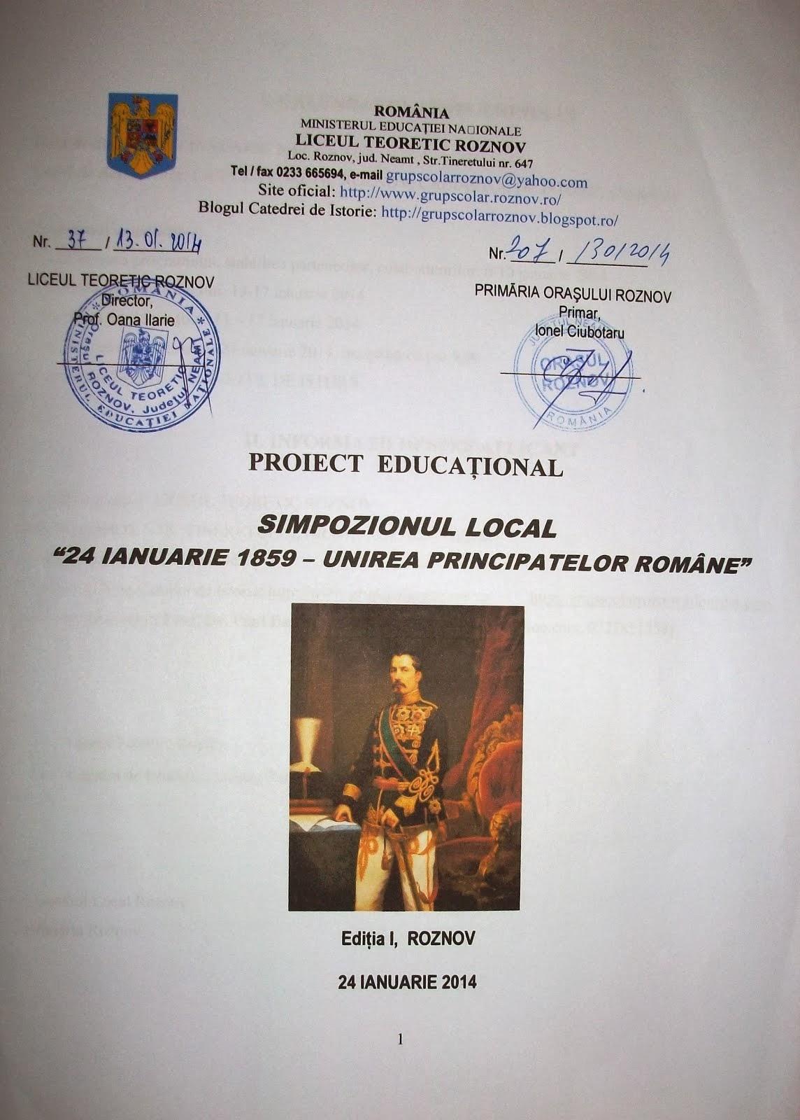 Proiectul Educaţional - 24 Ianuarie 1859 - Unirea Principatelor Române, 24.01.2014...