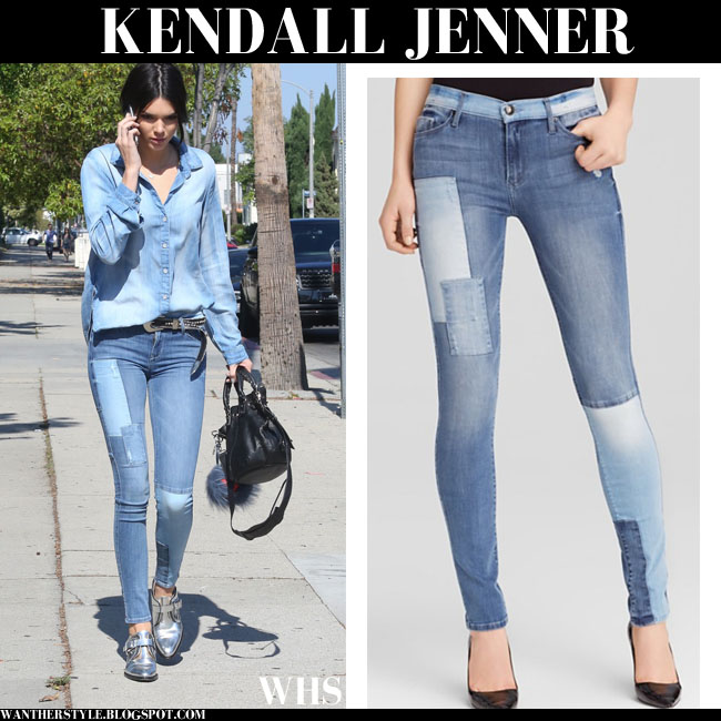 Kendall Jenner in denim Bella Dahl shirt and denim patchwork black orchid noah skinny jeans what she wore june 14